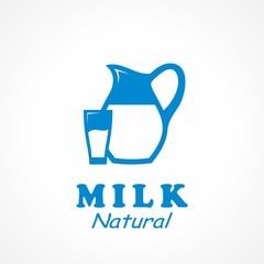 Natiral Milk Icon. Vector Illustration.
