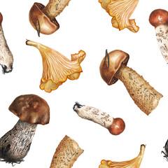Watercolor mushrooms pattern