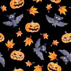 Halloween seamless pattern with pumpkin and bat, watercolor