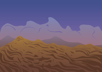 Vector illustration. Desert at the sunset.