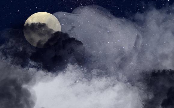Halloween scenery with full moon