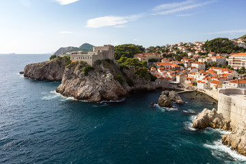 Scenic view of Fort Lovrijenac (St. Lawrence Fortress) and the city of Dubrovnik from the city walls in Croatia.
