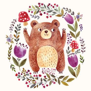Adorable bear in watercolor technique.