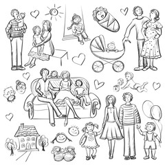 Hand drawn set with happy families