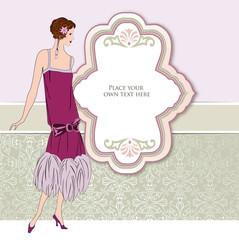 Fashion girl background. Retro party invitation design in 1920 - 1930's fashion style frame