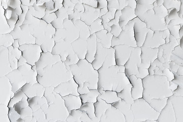Fototapete - Cracked flaking white paint, background texture