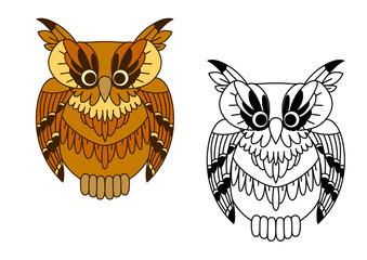 Little cartoon brown owl bird