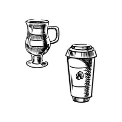 Takeaway paper cup and cup of coffee
