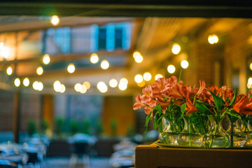 Restaurant background and flowers in focus