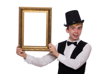 Guy with photo frame isolated on white