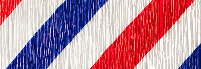 Red white and blue crepe paper background banner format