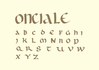Uncial script font handwritten with ink and parallel pen. This ancient letters was used from the 4th to 8th centuries AD by Latin and Greek scribes.