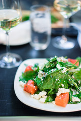 Summer salad with spinach,watermelon and goat cheese