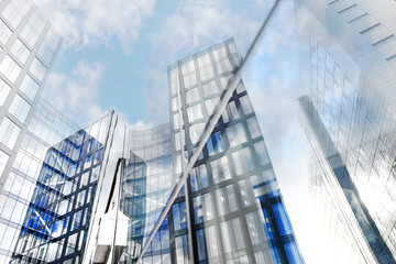 Glass facades of modern office buildings
