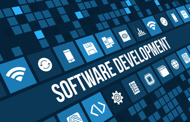 Software development concept image with technology icons and copyspace