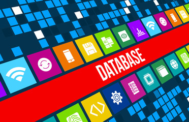 Database concept image with technology icons and copyspace