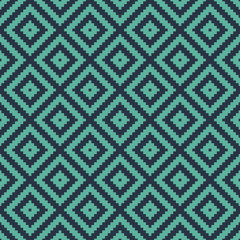Seamless neon blue op art ethnic pixel tribal textile pattern vector