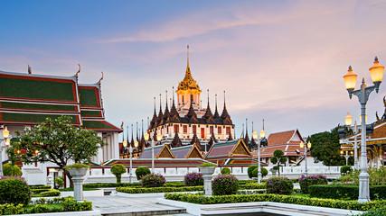 Loha Prasat  'Metal Castle' in Wat Ratchanaddaram Worawihan at the intersection between Ratchadamnoen Klang and Maha Chai Road, Bangkok Thailand.