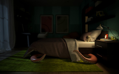 Interior children's room with a tentacular monster under the bed