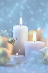 Light Christmas Decorations with Candles, baubles and magic