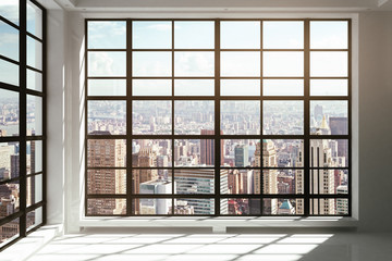 Fototapete - Floor-to-ceiling windows with city view