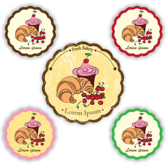 Set of vector labels with pastries, sweets. Croissant, cupcake and cherry
