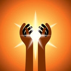 Silhouette of spiritual hands