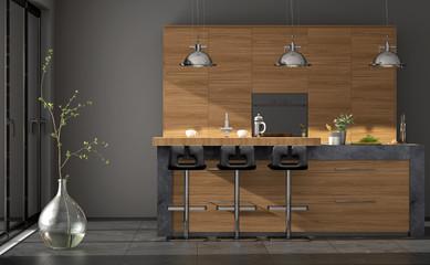 Einbauküche mit Granit und Küchenblock