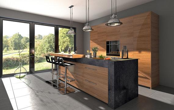 Küchenzeile mit Granit und Kochinsel