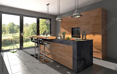 k chenzeile mit granit und kochinsel zdj stockowych i obraz w royalty free w. Black Bedroom Furniture Sets. Home Design Ideas