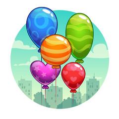 Vector illustration with cute cartoon balloons