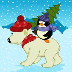 penguin holding spruce on polar bear - vector illustration, eps