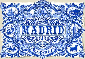 Indigo Blue Madrid Paint Tile Floor Oriental Spain Ornament Collection Seamless Patchwork Pattern Colorful Painted Tin Spanish Ceramic Tilework Vintage Illustration background Vector Pattern Brocade