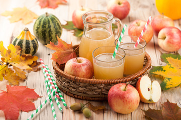 Apple juice, apples and pumpkins