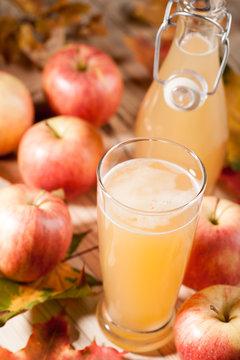 Apple juice, apples and maple leaves