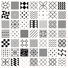 Set of geometric seamless patterns, triangles, lines, circles. Black and white different background