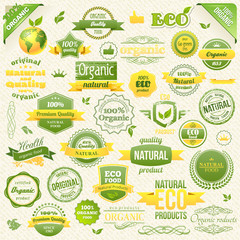 Collection Vector Organic Food, Eco, Bio Labels and Elements