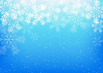 Shiny snowflakes on blue background