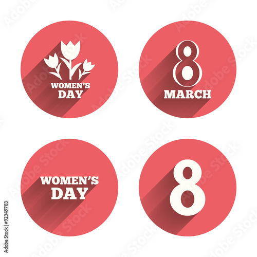 8 March Womens Day Icons Flowers Symbols Stock Image And Royalty