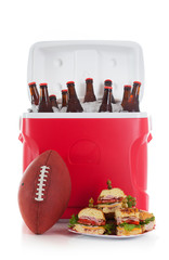 Football: Plate Of Sandwiches and Cold Beer