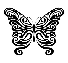 Ornamental butterfly silhouette.