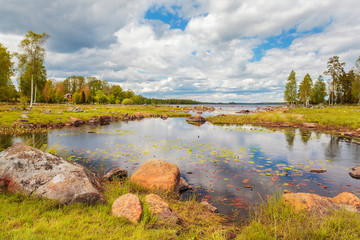 Swedish lake with rocks in summer