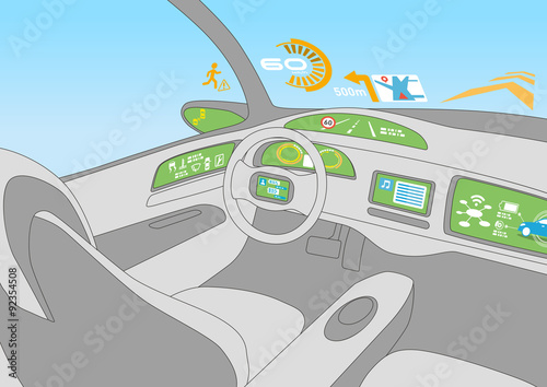 Line Drawing Car : Heads up display hud and various displays in car line drawing