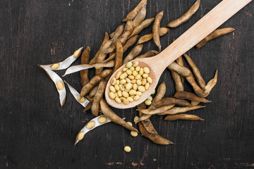 Foto op Canvas Jacht Soybeans pod, harvest of soy beans background Soybeans on a wooden background. rustic style
