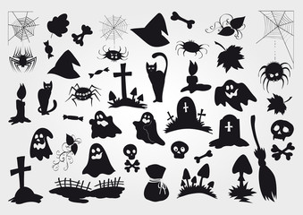 Big vector set of Halloween silhouettes objects and creatures.