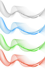 Abstract grey red blue green wave isolated on white background.