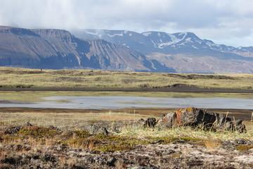 Widok na pasmo górskie w Islandii, u podnóża łąki o przebarwieniach i płytkie jezioro w porze jesiennej.