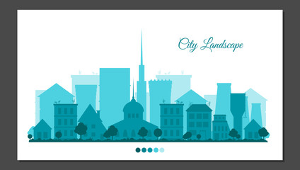 Flat city landscape in blue colors. Urban background for card, horizontal banner, presentation template, bag, web cite, real estate. Town vector illustration.