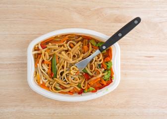 Noodles and vegetables TV dinner