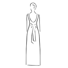 Abstract drawing of a slim woman wearing backless dress